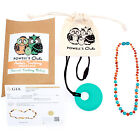 Baltic Amber Necklace GIFT SET - Teeth Pain Relief Turquoise/Cognac - 12.5""