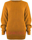 WOMENS LADIES CASUAL BASIC COSY KNITTED BAGGY JUMPER WINTER TOP PLUS SIZE S-3XL