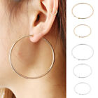 CLIP ON thick HOOP EARRINGS clips GOLD/SILVER TONE big FASHION non-pierced image