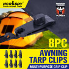 8pc Awning Tarp Clamp Set Tent Clips Hangers Survival Emergency Grommet