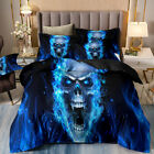 Blue Skull Duvet Cover Set Twin Queen King Size Newly Bedding Set Pillow Case image