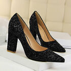 Women Sexy Pointy Toe Grace Pumps Sequins Glitter High Heels Shoes Party Wedding
