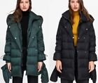 ZARA QUILTED DUCK DOWN FEATHER PUFFER COAT WRAP AROUND COLLAR SWING ANORAK PUFFA
