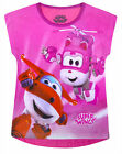 Girls Super Wings T-shirt Kids New 100% Cotton Top Pink Ages 2 3 4 5 6 Years