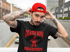 Death Row Records Red Logo T Shirt Vintage Rap Tee Hip Hop 2Pac Dre Snoop Black image