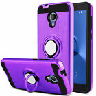 For Alcatel X1 with 360 Degree Rotating Ring Pattern Shock Kicks Case & Glass