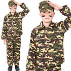 BOYS FANCY DRESS ARMY CAMOFLAGE COSTUME GREEN AND BLACK ACTION MAN OUTFIT