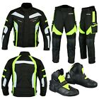 Motorcycle Motorbike Racing Jacket Trouser Biker Suit Riding Leather Boot Armour