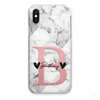 PERSONALISED INITIALS PHONE CASE MARBLE HARD COVER FOR SAMSUNG J3 J4+ J6 J7 J8..