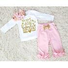 US First Birthday Newborn Baby Girl Pink Clothes T Shirt Top + Pants Outfit Set