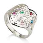Tree of Life Ring Family Mom Birthstone Love Personalized Custom Sterling Silver