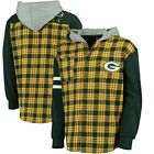 Forever Collectibles NFL Men Green Bay Packers Lightweight Flannel Hooded Jacket on eBay