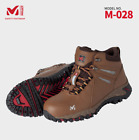 MILLET Safety shoes Work boots  M-028 Brown Steel Toe US M 7.0-11