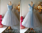 Vintage Short Prom Dresses 1950's Blue Tulle Tea Length Mini Party Gowns Custom
