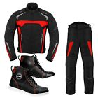 Mens Motorcycle Suit Cordura Waterproof Jacket Trousers Leather Riding Sneakers