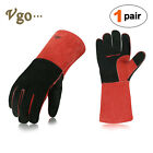 """Vgo 1Pair/2Pairs/4Pairs 13.5"""" Cow Split Leather Welding Grill BBQ Gloves(CB6638)"""