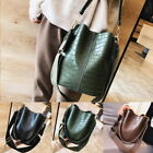 Fashion Womens Faxu Leather Bucket Bags Handbag Casual Shoulder Messenger Bags