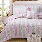 100% Cotton Pink Floral Stripes Patchwork Lace 3 pcs King Queen Quilt Coverlet image