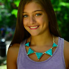 NWT Amrita Singh Bermuda necklace gold chain geometric turquoise or blue - $120 image