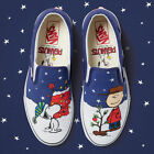 NEW Vans Peanuts Classic Slip On Christmas Tree Charlie Snoopy Men's VN0A38F7QQF