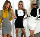 Womens Bodycon Check Dog Tooth Frill Pinafore Ruffle Dress Bodycon Mini 6-16 UK