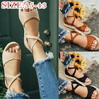 Womens Platform Sandals Strappy Open Toe Flat Ankle Buckle Flats Sandals
