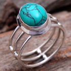 Oval Turquoise Gemstone 925 sterling silver jewelry Unisex Ring Choose Size 6-12