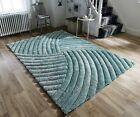 VERGE FURROW HEAVYWEIGHT THICK SOFT CARVED 3D PILE LIGHT DUCK EGG TEAL BLUE RUG