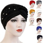Womens  Hat with Pearls Solid Color Caps Muslim Headwraps Turban Hat GIFT