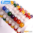 Handmade Multi-Colors Jade With Rhinestone Spacer Crafts Stretchy Bracelet 7.5""