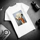 Cotton T-Shirt Aesthetics Sexy Flower Feather Print Short Sleeve Casual Colorful