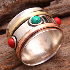 Turquoise Coral 3 Tone Spin Band Ring 925 Sterling Silver Jewelry All Size us