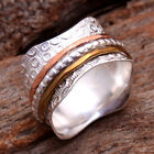 3 Tone Solid 925 Sterling Silver MEDITATION SPINNER BAND Ring All US Size