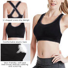 Lady Crossback Sports Bras Padded Seamless Med Support Yoga Gym Workout Fitness
