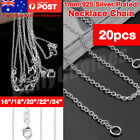 """Real S925 Solid Sterling Silver Necklace Italian Curb Chain Styles 16""""-24"""" Inch"""