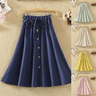 Women A-Line High  Button Front Drawstring Pleated Midi Skirt Knee Length