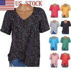 US STOCK Women's V Neck Tops Short Sleeve T-Shirt Casual Printed Blouse GIFT