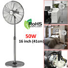 16 Inch Pedestal Fan Oscillating Floor Standing Chrome 3 Speed Height Adjustable