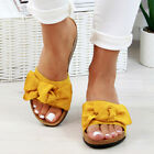 Ladies Summer Bow Flatform Mule Sandals Slip On Sliders Comfy Shoes Womens Size