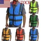 US High Zipper Front Safety Vest Reflective Strips Safety Vest With Pockets GIFT