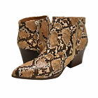 Women's Shoes Qupid NAVA-06X Pointy Toe Zipper Ankle Booties BEIGE / BROWN SNAKE