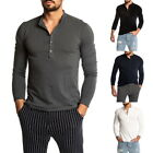 2019 New Men's Casual Slim Fit Solid Color Long Sleeve Henley Shirts GIFT