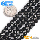 Natural Gemstone Black Tourmaline Faceted Round Beads For Jewelry Making 15""