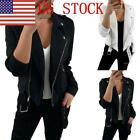 US Fashion Ladies Zipper Lapel Motorcylce Faux Leather Jacket Sexy Overcoat GIFT
