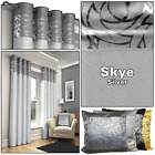 Silver Grey Metallic Floral Swirl Ready Made Eyelet Top Ring Top Curtains Pair