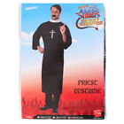 MENS PRIEST COSTUME VICAR RELIGIOUS FANCY DRESS ROBE WITH COLLAR STAG DO M L XL