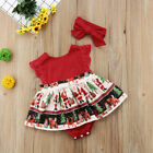 US Lovely Newborn Baby Girl Christmas Clothes Romper Bodysuit Headband Outfit