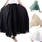 Women Lady Bohemian Skirt Swing Elastic Waist Band Cotton Linen Long Maxi Dress