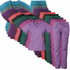 Medgear 14-Pocket Women  s Stretch Medical Scrubs Set with Silver Snap Buttons
