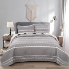 3 Piece Quilted Bedspread Blanket 2 Matching Pillow shams Grey Queen/King Size image